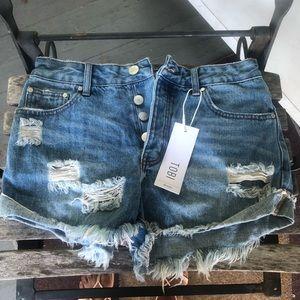 Tobi Denim Distressed Ripped Cuffed Jeans 27